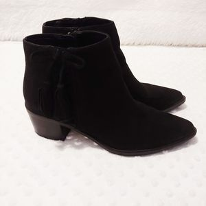 Betsey Johnson Black Leather Suede Pointed Booties